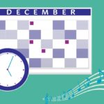 December calendar with music notes